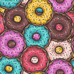 Seamless pattern with colored donuts, vector illustration