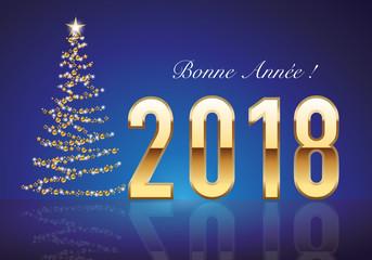 2018 - carte de vœux - vœux - bonne année - sapin - guirlande - élégante - classique