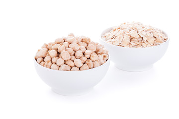 Low carbohydrates in assortment, chickpeas and oat flakes