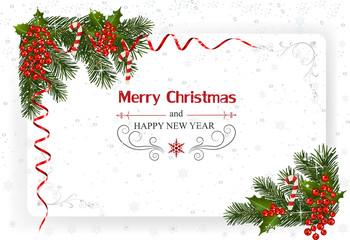 Christmas And New Year Greeting Card.Christmas background with decoration and paper.Christmas frame with berry and ribbons
