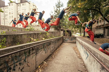 Man Jumping as Part of Parkour Practice