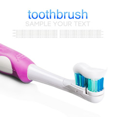 electric toothbrush with toothpaste isolated on white background. Text delete