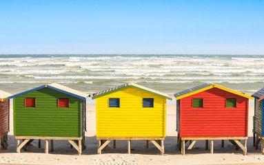 Multicolored beach huts at St James and Muizenberg seaside near Simon Town - Atlantic pacific coast near Cape Town in South Africa - Wanderlust ravel concept with worldwide beautiful destinations