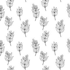 white black vector contour privet berry seamless pattern