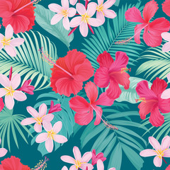 Tropical seamless pattern with hibiscus syriacus and plumeria flower with leaf on blue background. Vector set of exotic tropical garden for wedding invitations, greeting card and fashion design.