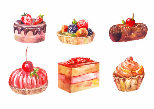 vector set of cakes, watercolor drawing. Art illustration isolated on white
