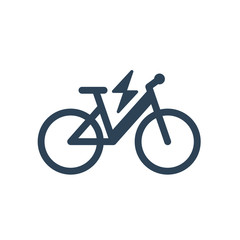 Isolated electric city bike symbol icon on white background. Trekking e-bike line silhouette with electricity flash lighting thunderbolt sign.