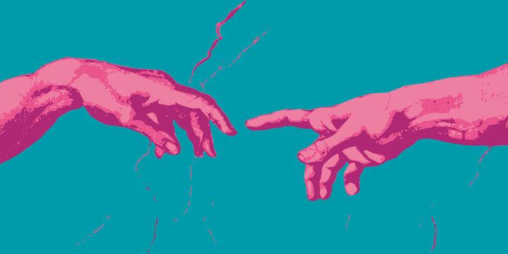 Michel Ange - main - création - concept - connexion - contact - communication - relation,