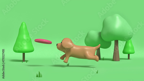 brown dog cartoon style running in green parks with dog dish