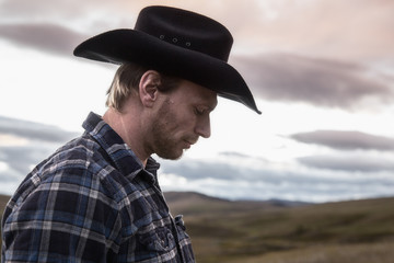 cowboy, man, sunset, hat, country, plaid,  portrait, rugged