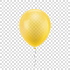 Yellow realistic balloon. Blue ball isolated on a transparent background for designers and illustrators. Balloon as a vector illustration
