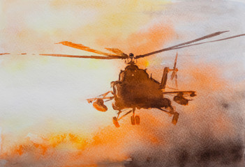Helicopter over sunset. Watercolor drawing