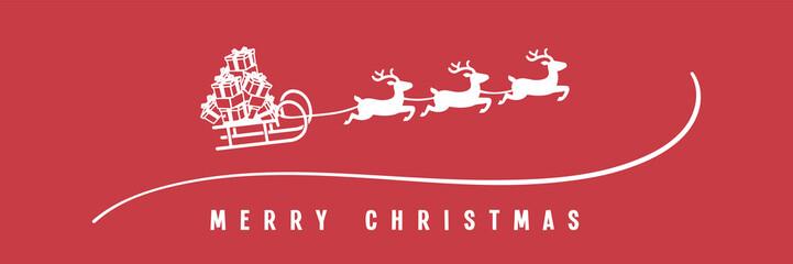 Schlitten mit Geschenken und Rentieren - Merry Christmas Banner