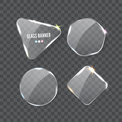 Glass banner, realistic vector illustration