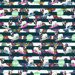 Seamless pattern with french bulldog and spinners.