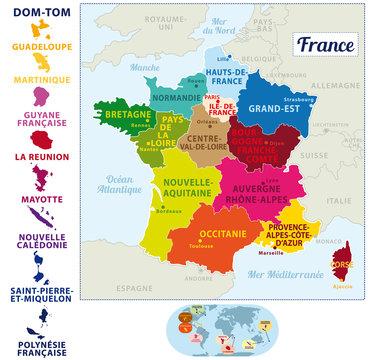 Carte de france colorée 2017 avec les 13 nouvelles régions et Départements et Territoires d'Outre-mer..