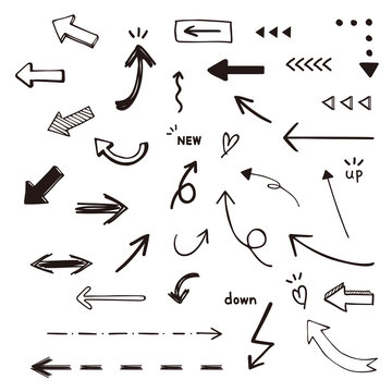 手書き矢印のイラスト素材 白黒   / vector eps 10