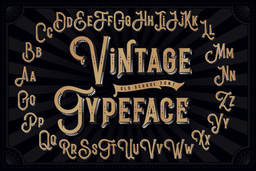 Vector vintage decorative font with extruded lines effect