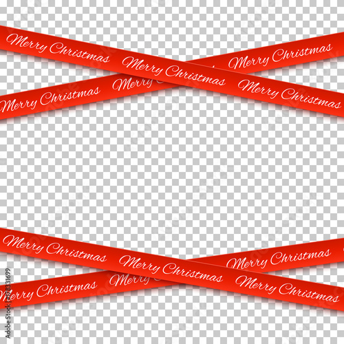 Merry Christmas No Background.Merry Christmas Red Banners Isolated On Transparent