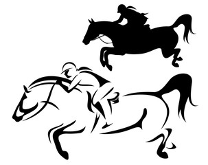 female rider - jumping horse side view outline and silhouette black and white vector design