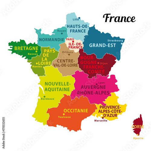 Carte De France Colorée 2017 Avec Les 13 Nouvelles Régions