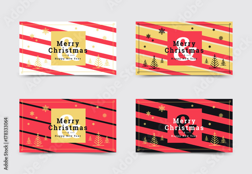 Set Of Christmas Gift Card Templates Minimal Covers Design With