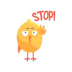 Stop, funny cartoon comic chicken showing hand gesture vector Illustration