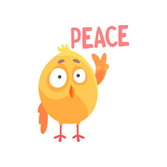 Piece, funny cartoon comic chicken showing peace gesture vector Illustration