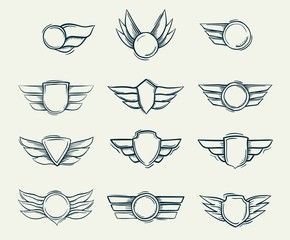 Collection of hand drawn doodled shield military emblems vector illustration