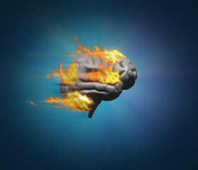 Burning brain - brain model on fire symbolising running at speed and generating ideas