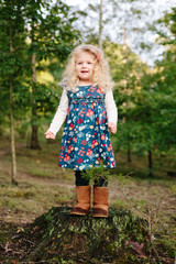 little girl standing on a stump