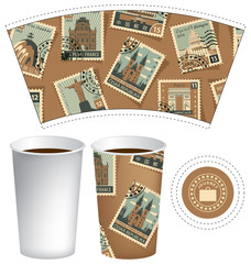 Vector template paper cup for hot drink. Disposable cup for tea or coffee with set of postage stamps with different historical architectural sights landmarks in retro style