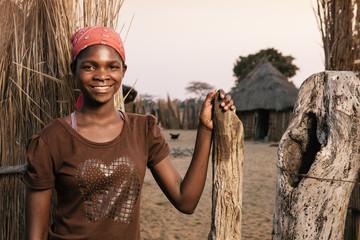 Portrait of a young African Hambukushu woman