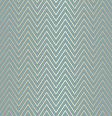 Trendy simple seamless zig zag golden geometric pattern green blue background, vector illustration. Wrapping paper zigzag graphic print. Repeating line texture. Modern minimalistic hipster geometry