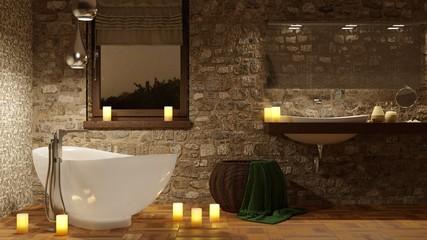 Bagno con vasca e candele romantiche