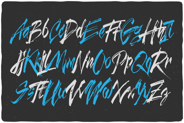 Handcrafted vector calligraphic script font. Dirty brush alphabet set.