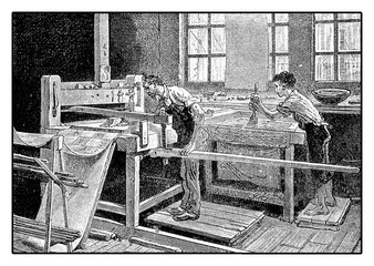Printing tablecloth by hand, XIX century workshop