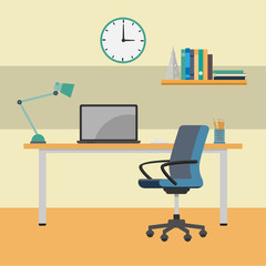 Home Office working Desk-Vector Flat Design Illustration
