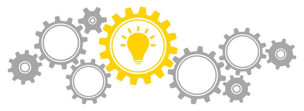 Gears Border Graphics Idea Grey/Yellow