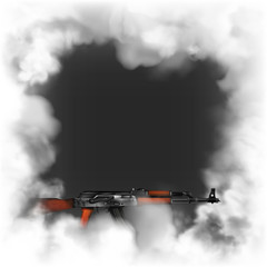 smoke frame dark background AK47