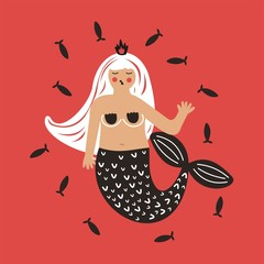 Cute illustration. Cartoon mermaid. Vector print
