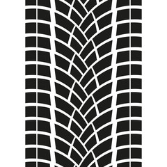 Tire track isolated on white background. Tyre print. Vector illustration.