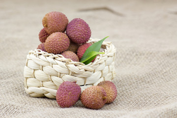 fresh lychees in a basket