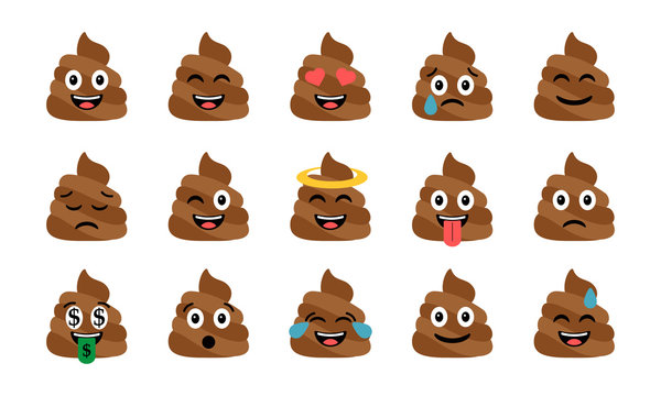 Cute funny poop set. Emotional shit icons. Happy emoji, emoticons
