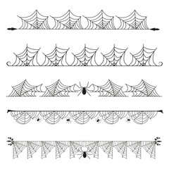 Halloween cobweb vector frame border separator and dividers line isolated on white with spider web for spiderweb scary illustration.