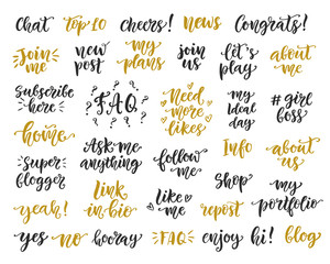 Social Media hand written trendy lettering big collection