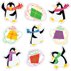 Dancing xmas penguins in a bright scarves and colorful gift boxes stickers set.