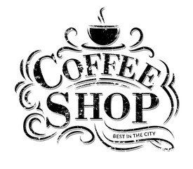 Coffee shop Logo with grunge effect. Retro coffee logo. Vector illustration