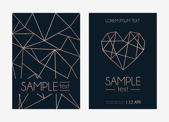 Geometric rose gold design template. Modern design for wedding invitation, greeting card, anniversary. Navy blue background with geometric rose gold circle. Vector illustration
