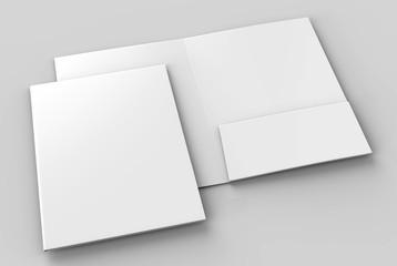 Blank white reinforced A4 single pocket folders on grey background for mock up. 3D rendering.